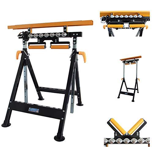 2 X TrutzHolm® Multifunktions-Arbeitsbock Rollenbock höhenverstellbar Klappbock V-Rollen klappbar 2 X Werktisch 4 in 1
