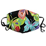 Vbnbvn Masque Adulte,Masque de Bouche, Butterflies Dust, Allergy & Flu Mask - Comfortable, Washable Face Mask - Ideal for Dog Grooming - Protection from Dander, Hair, Dust,