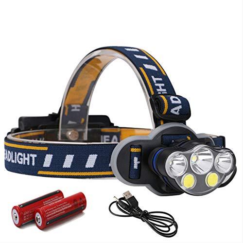 LED Stirnlampe,Super Helle Kopflampe,Led Head Lampe 1 * t6 + 2 * xpe + 2 * cob Scheinwerfer 18650 Batterie Camping Licht 4000 Lumen Taschenlampe Stirn Usb wiederaufladbar