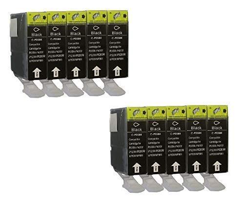 10 Tintenpatronen mit Chip für Canon Black PGI-5 BK Pixma IP3300 IP3500 IP4200 IP4200IP4300 IP4500 IP5200 IP5200 IP5300 IP6600 IP6700D MP500 MP510 MP520 MP530 MP610 MP800 MP810 MP830 MP970 IX4000 IX5000 MX700 MX850 Pro9000 Schwarz (Mp970 Pixma Canon)