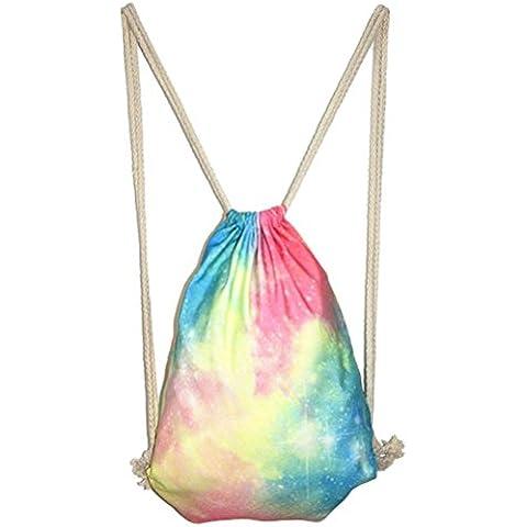 Panegy Mochila Tipo de Saco Gym Sack Bolsa de Gimnasia para Mujer Chica Color Caramelo Gradiente