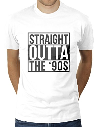 Straight Outta '90s - Geboren in Den 90er Jahren - Herren T-Shirt von KaterLikoli, Gr. M, Weiß