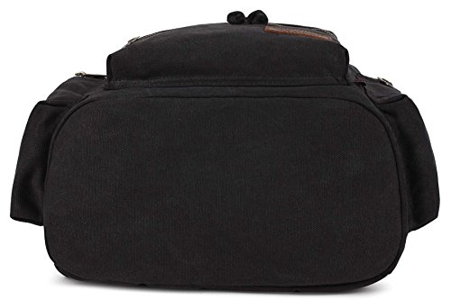 KAXIDY Leinwand Laptop-Tasche Segeltuch Leder Sporttaschen Trekkingrucksack Rucksäcke Schulrucksäcke (Khaki) Schwarz