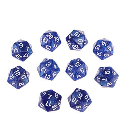 FLAMEER 10 Packung Zwanzig Würfel 20 seitig Zahlenwürfel Spielewürfel Spielezubehör D20 W20 - Blau
