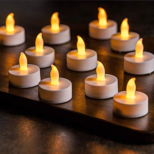 LED-Teelichter, 24 Stück, batteriebetrieben, flammenlose LED-Kerzenlichter, flackernd, warm, gelb, für Halloween, Kürbis, Weihnachten, Hochzeit, Party-Dekoration