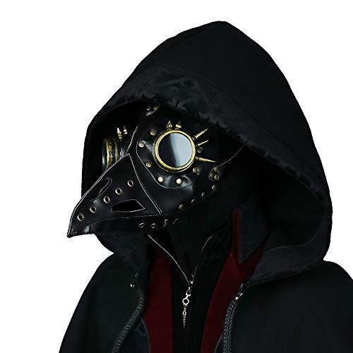 k Steampunk Unisex Retro Doktor Vogel Maske Gothic Cosplay PU Leder Maske Full Face Maskerade Maske Halloween Requisiten ()