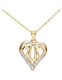 Naava PP03184Y - Collar para mujer de oro amarillo de 9 quilates con 1 diamante