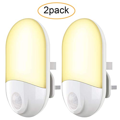 Motion Sensor Lights Indoor - Night Lights Plug in Wall Movement Sensor  Light PIR LED Night Light for Kids,Hallway,Bathroom,Stairs,Warm White,2Pack