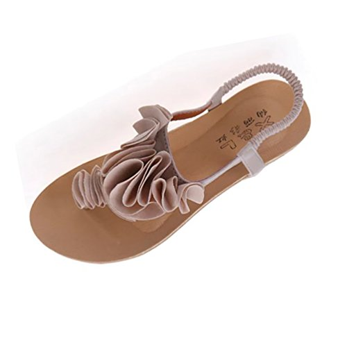 YOUJIA Floral Sandales Plates Femmes Sandale De Plage Tongs Chaussures De Clip Toe Beige