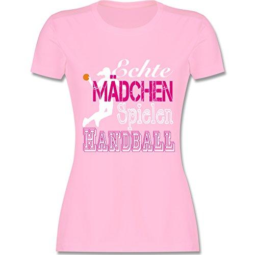 Handball - Echte Mädchen Spielen Handball weiß - S - Rosa - L191 - Damen Tshirt und Frauen T-Shirt