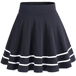 Dresstells Falda Mujer Mini Corto Elástica Plisada Básica Multifuncional Black-White M