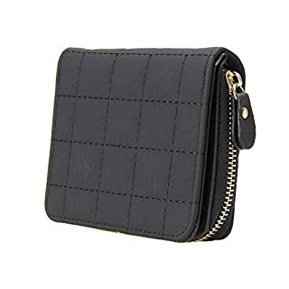 Aeeque® Women Short Grid Style Wallet, Premium PU Leather Coin Card Holder Case Small Zipper Purse - Black