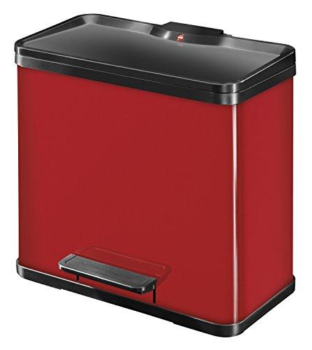 Hailo Öko trio Plus L, Mülltrenner, 3x9 Liter, 3 einzeln herausnehmbare Inneneimer, Deckeldämpfung (Soft Close), rot, made in Germany, 0633-240