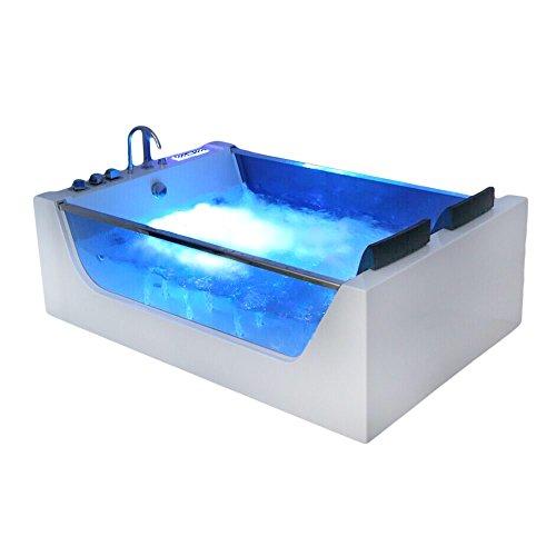 supply24 XXL Luxus Whirlpool Badewanne Avignon mit 22 Massage Düsen + LED Beleuchtung + Heizung + Ozon freistehende Wanne mit Glas Hot Tub Spa Indoor/innen für 2 Personen