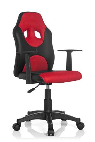 hjh OFFICE 670820 Kinder-Drehstuhl Kid Racer AL Kunstleder Schwarz/Rot höhenverstellbarer Kinderschreibtischstuhl mit Armlehnen