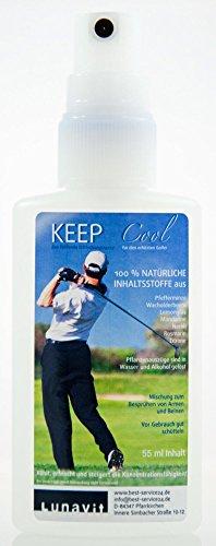 Kühlendes Erfrischungsspray für Gesicht und Körper, Keep Cool mit Pfefferminze und Wacholder, belebt die Sinne und steigert die Konzentration, für Golf und alle anderen Sportarten, 55 ml (Gesicht-lufterfrischer)
