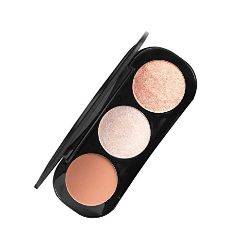 ROPALIA 3 Farben Blush Highlighter Palette Gesicht Contoure Vegan Matte beleuchtetes Pulver