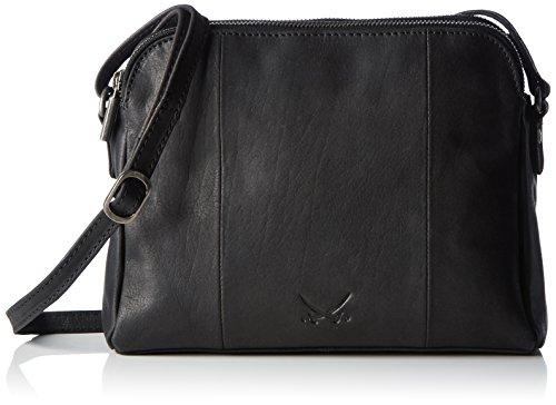 Sansibar Damen Zip Bag Umhängetasche, Schwarz (Black), 9x20x25 cm