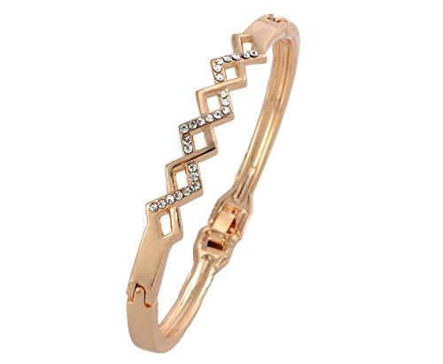 Shining Diva 18k Rose Gold Plated Crystal Bangle Bracelet for Girls and Women