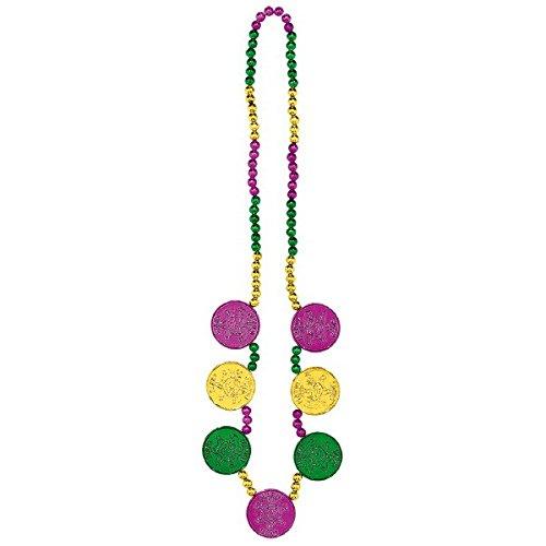 Amscan Mardi Gras Münze Medaillons Halskette Kostüm Party Zubehör, Kunststoff, 121,9cm