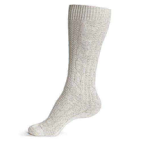 Gaudi-Leathers Trachtenstrümpfe, Socken, Kniestrümpfe mit Zopfmuster in Weiß (Weiß 120), 47