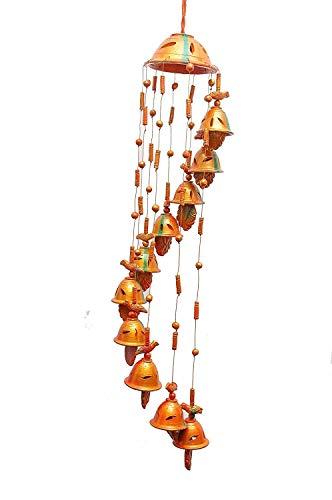 Prajapaticraft Terracotta Home Decorative Hanging Cum Outdoor Garden Windchime Bell (Standard Size, Multicolour) -8 Bells