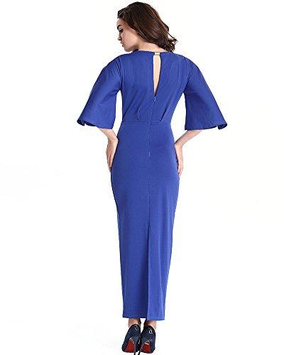 Moollyfox Femme Sexy Robe 3/4 Manches Col Rond Soirée Cocktail Crayon de Robe Longue Bleu