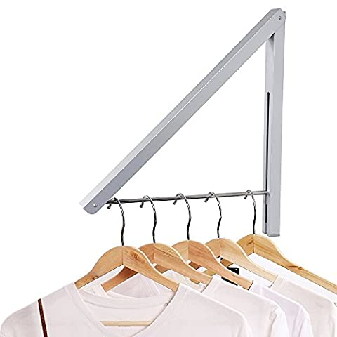 Anjuer Folding Clothes Drying Rack Airer Non-corroding Aluminum and Stainless Steel Wall Mounted Coat Hanger Rack Space Saving Home Bedroom Storage Suit Hangers Silver