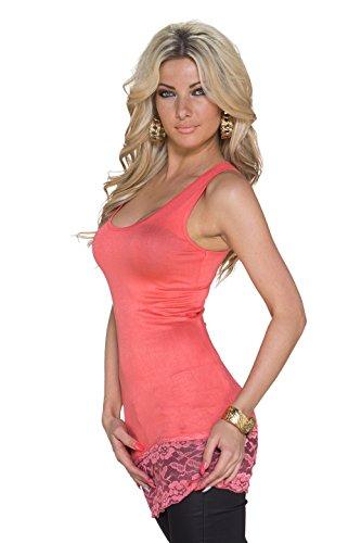 Muse débardeur de sport pour femme t-shirt à manches longues avec galon dentellé, d'autres couleurs Rose - Corail
