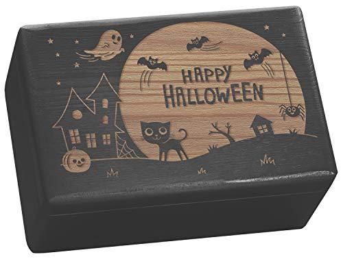 it Happy Halloween Gravur - Aufbewahrung Süßigkeiten und Party Deko - 30x20x14cm, Schwarz, FSC® ()