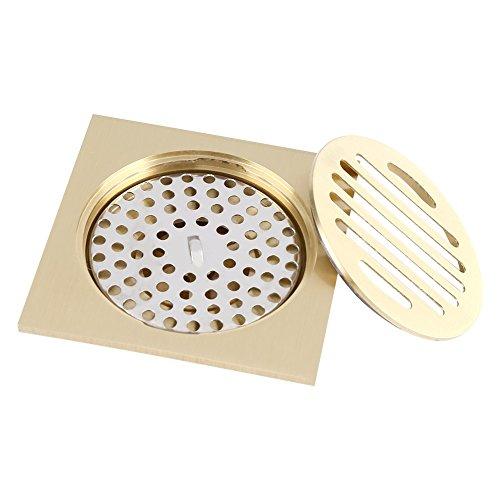Delaman Bodenablauf Duschablauf aus Messing 100 * 100mm für Badezimmer Küche Keller Geruchsverschluß -