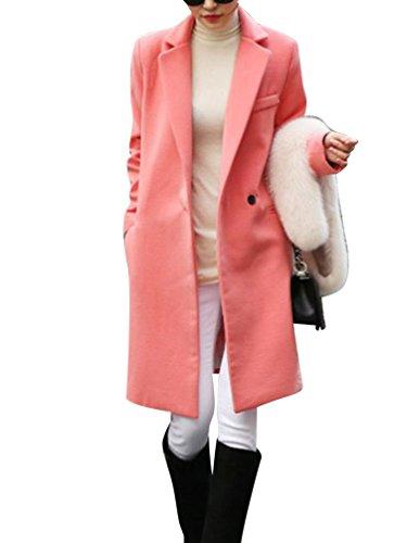 renchcoat Übergangsjacke Faux Wollmantel Parka Coat Outwear S Gummi Rot (Britische Roten Mantel)