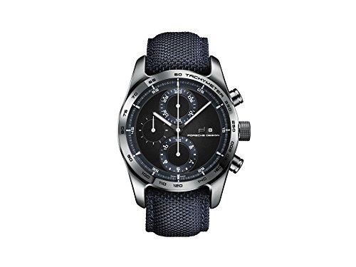 Porsche Design Chronotimer Series 1 Automatik Uhr, Poliertes Titan, Schwarz/Blau