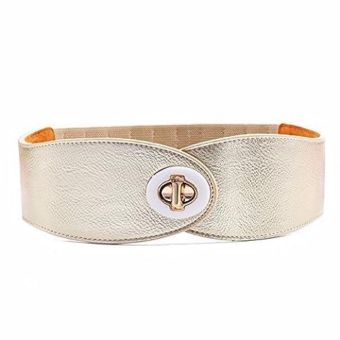 LONFENNE Extensible ceinture en cuir large joint ,décoration taille 67-82cm,d'Or