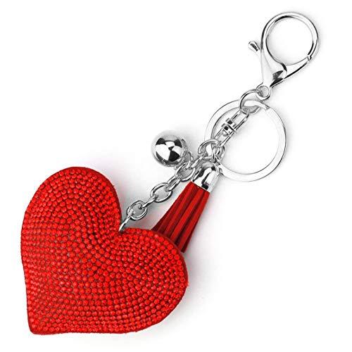 laonBonnie Romantisches Design Liebe Herz Schlüsselbund Frauen Strass Perlen Schlüsselanhänger Handtasche Anhänger Lange Quaste Schlüsselanhänger Schmuck-White & Red - White Heart Handtasche