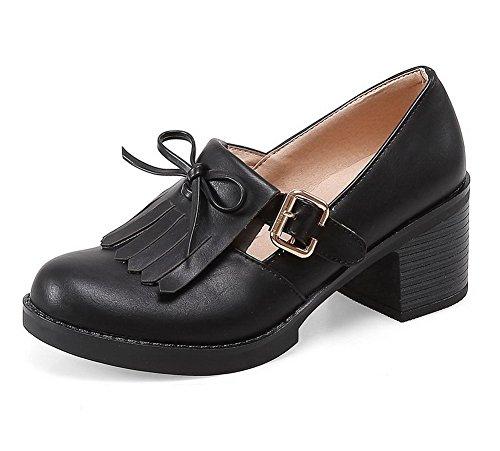 VogueZone009 Femme Rond Boucle Pu Cuir Couleur Uniet Chaussures Légeres Noir