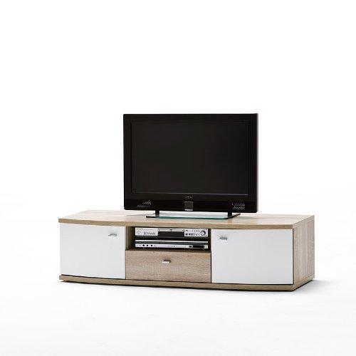 LED Wohnwand »PIA« inkl.Sideboard Hochglanz weiß – Sonoma Eiche - 5