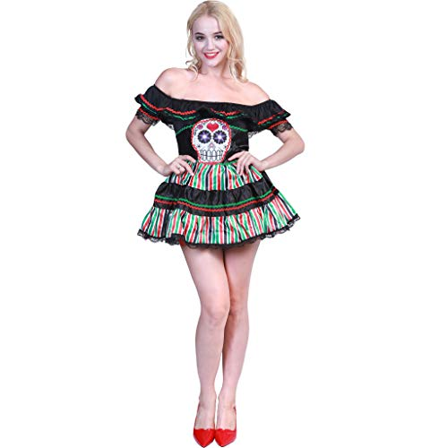 EraSpooky Damen Kostüm Puppe Day of The Dead Mexican Skull Totenkopf
