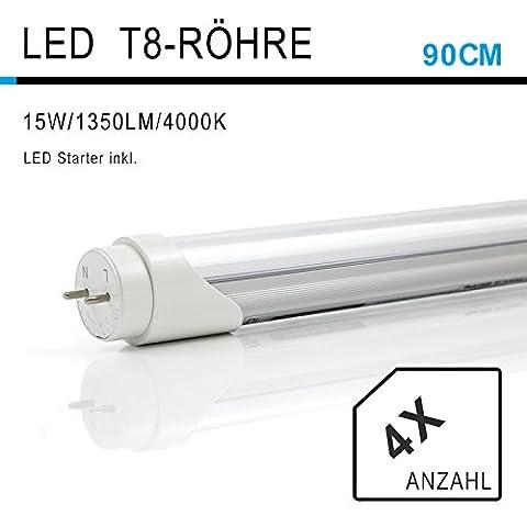 4 Stück 90CM LED Leuchtstoffröhre, T8 G13 Tube Leuchtstofflampe drehbar, 15W 4000K Naturweiß 1350lm, 24Watt-Ersatz, Abstrahlwinkel 180°, inkl. Starter, milchige Abdeckung