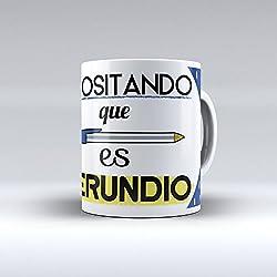 """Taza cerámica desayuno regalo original Opositor oposiciones """"Opositando que es gerundio"""""""