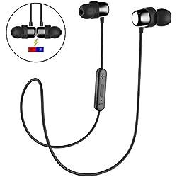 HAVIT Ecouteur Bluetooth Sans Fil V4.2 & IPX5, Oreillette Bluetooth avec 10 heures de jeu et 10M sans fil gamme pour sport & jogging, microphone intégré - pour iPhone, iPad, Smartphones, Tablettes et Plus (Noir)