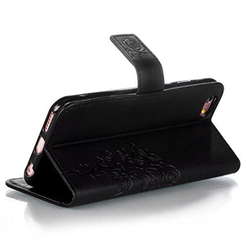 JIALUN-étui pour téléphone IPhone 6 6S plus cas, avec fente de carte, boucle magnétique embelli téléphone plat Shell pour IPhone 6 6S Plus ( Color : Gold ) Black