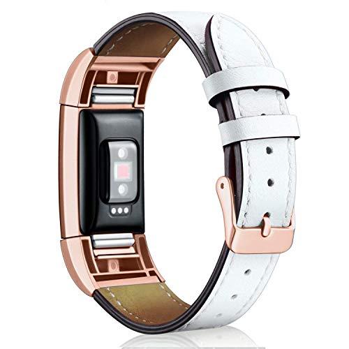 Mornex Correa de Cuero Genuino Compatible Fitbit Charge 2, Correa Ajustable Correas de Recambio Pulseras Pulsera Banda de Actividad Física con Conectores de Metal
