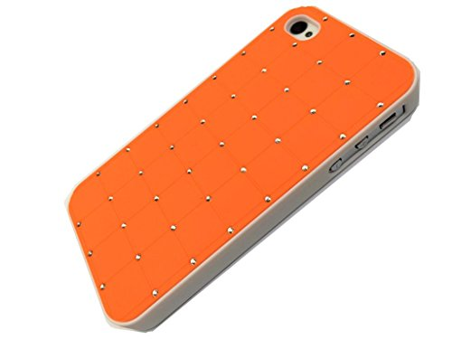 Best Style Iphone 4/4S LUXURY CRYSTAL Cross Diamond Orange Case Bling Hard Cover with White Frame For APPLE Iphone 4/4S by G4GADGET®
