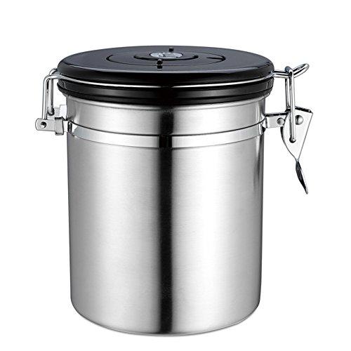 Trockenen Kanister-vakuum (Fastar Container für Kaffee Bohnen, Tee und trockene Waren, Edelstahl Vakuum versiegelt Kaffee Kanister 1,5l silber)