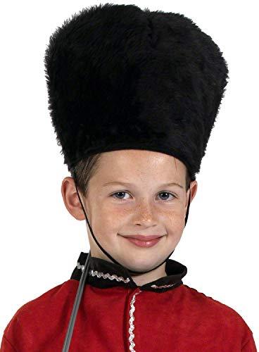 Fancy Me Kinder Jungen Hut Fluffy Traditionelle Queens Guard Hut Busby English Military Uniform Kostüm Outfit Zubehör (Queen's Guard Kostüm)