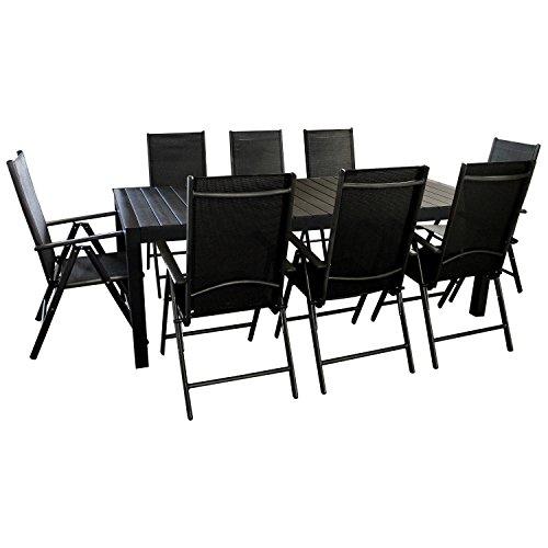 9tlg. Gartengarnitur - Gartentisch ausziehbar 205/275x100cm, Polywood Tischplatte + 8x Hochlehner, 2x2 Textilenbespannung, 7-fach verstellbar - schwarz / Sitzgarnitur Sitzgruppe Gartenmöbel Terrassenmöbel