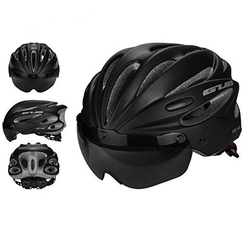 pawaca Erwachsene Radsport Bike Helm mit abnehmbarem Schild Visier für Herren Damen Sicherheit Schutz, bequem, leicht, atmungsaktiv, Schwarz , Large (Schaum-visier)