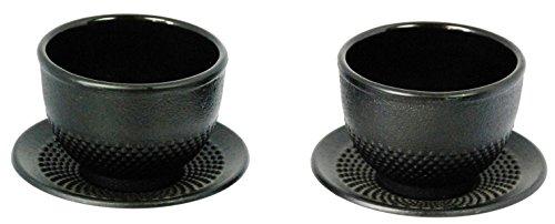 Buckingham tazza da tè e piattino, set da 2, stile giapponese, in acciaio pressofuso, nero