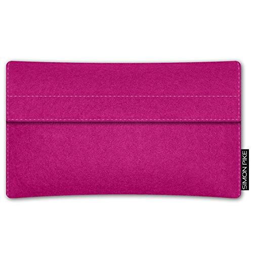 SIMON PIKE Apple iPhone SE/5S/5C/5 Filztasche Case Hülle 'Sidney' in rot 10, passgenau maßgefertigte Filz Schutzhülle aus echtem 100% Natur Wollfilz, dünne Tasche im schlanken Slim Fit Design für das  pink Filz (Muster 10)